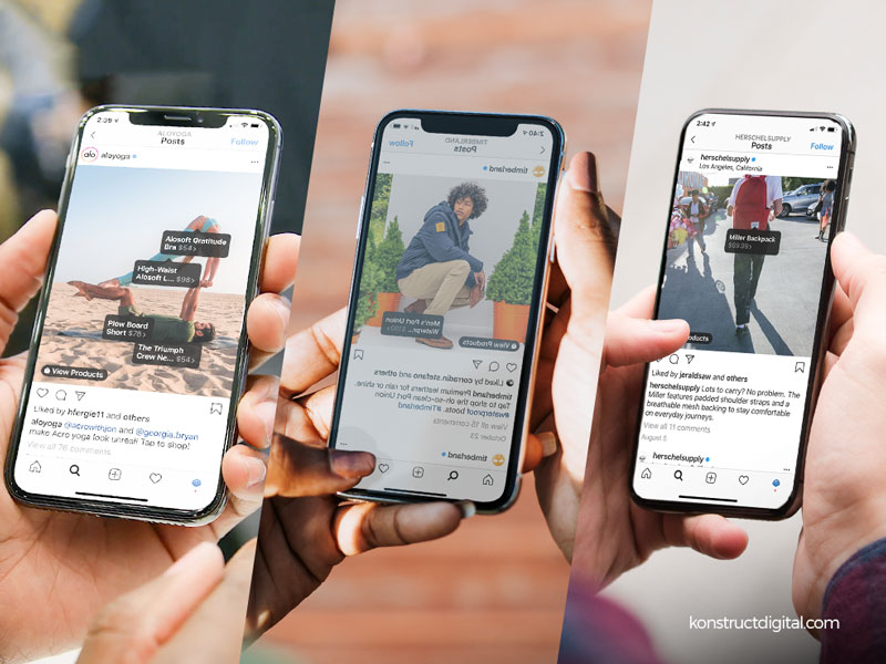 Three iPhones with various shoppable Instagram posts on the screens