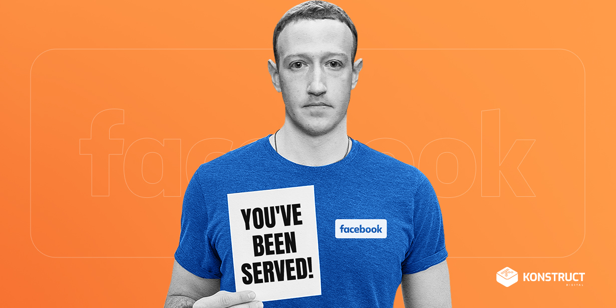 "Mark Zuckerberg holding a paper that says ""You've been served!"""