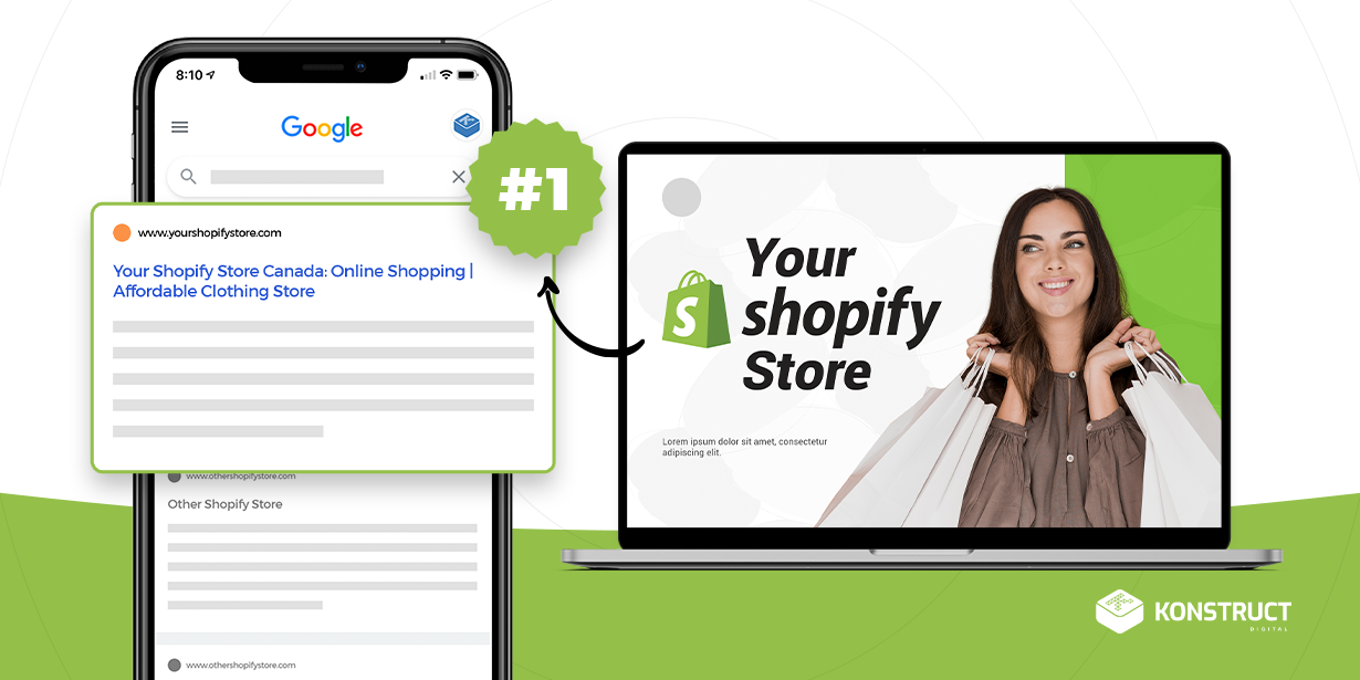 "A laptop that says ""Your Shopify Store"" with an arrow pointing to the #1 search result on Google"