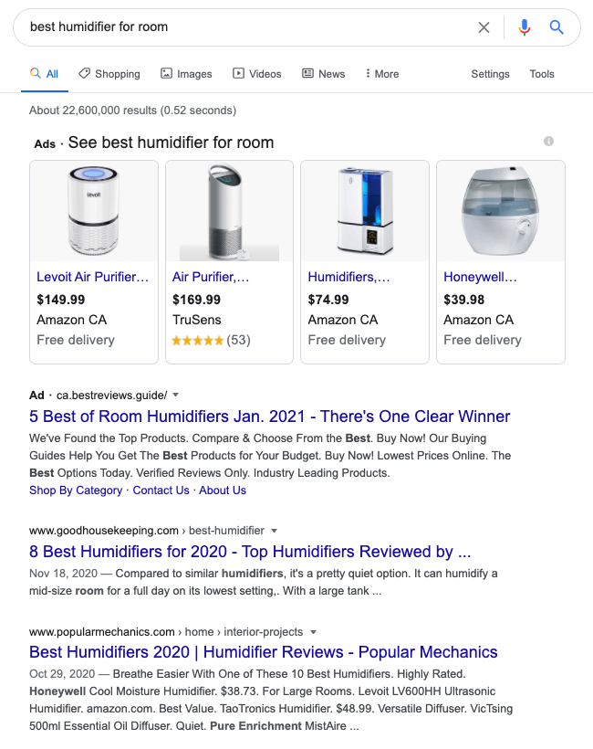 "Google search results for ""best humidifier for room"""