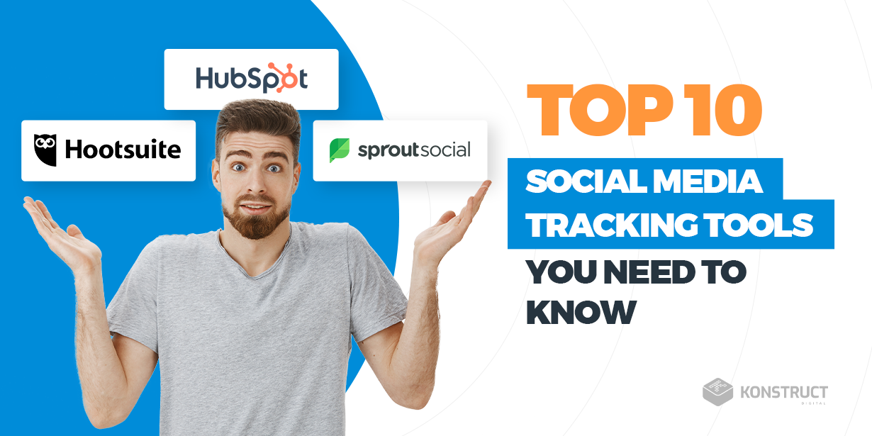 A confused person with their hands up, with the text 'Top 10 Social media tracking tools you need to know'